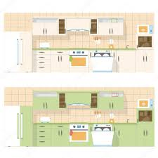 kitchen overlooking the front in a flat layout design two color
