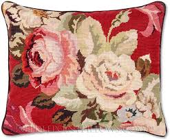 decorative throw pillows roses on needlepoint pillow