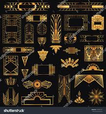 art deco vintage frames design elements stock vector 184361291