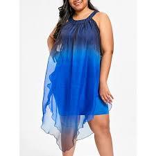 Wholesale Plus Size Ombre Flowy Beach Dress Xl Blue And Black Online