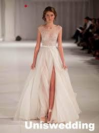 formal wedding dresses cap sleeves a line empire waist thigh split lace tulle formal