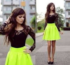 dress short dress neon yellow skirt black lace top gorgeous