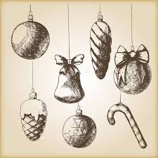 brown vintage sketch ornaments stock