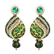 chandbali earrings drop shaped green white gold plated chandbali earrings