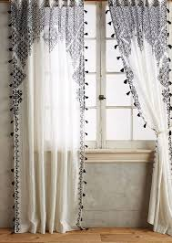 White Curtains With Pom Poms Decorating Beyond The Fringe Pompoms Tassels Bohemian Curtains Printed