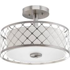 Flushmount Lighting Gray Drum Semi Flushmount Lights Ceiling Lights The Home Depot