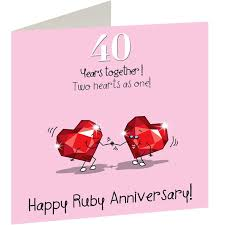 Wedding Day Greetings 40th Wedding Ruby Anniversary Card