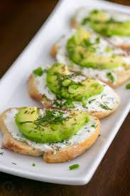 m fr canapes canapes with garlic herb cheese and avocado
