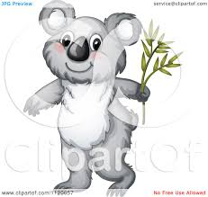 cartoon of a cute koala with a branch royalty free vector