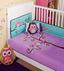Owls Crib Bedding New Purple Violet Aqua Baby Owl Crib Bedding Nursery Sheet Set 6