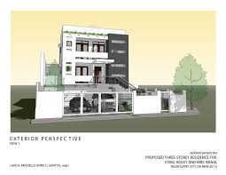 floor plan with perspective house architecture and interior design by michelle anne santos at