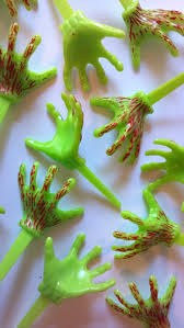 Monster Halloween Party Zombie Hands Cupcake Picks Or Cake Toppers Fun For Bloody Zombie