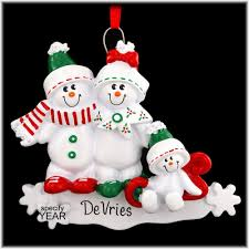 amazon com personalized ornament family of 3 snowmansled home