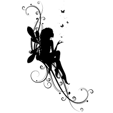 black silhouette with flying butterflies design