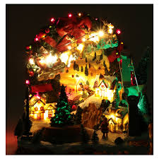 christmas scene with lights and moving train 30x30x25 online