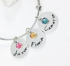 Mothers Bracelets With Names Amazon Com Personalized Mothers Bangle Bracelet With Birthstone