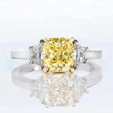 yellow engagement rings fancy yellow diamond ring cushion 2 11 carat vs2 naturally