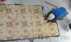 How To Lay Tile In A Bathroom Floor How To Install Cement Tiles Villa Lagoon Tile