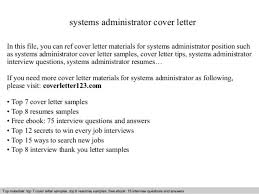 information systems administrator cover letter