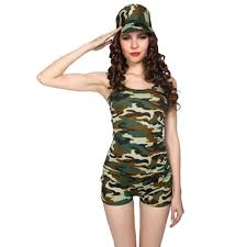 ladies womens military camo army soldier fancy dress