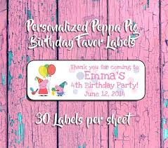 party favor labels personalized peppa pig birthday party favor labels return address