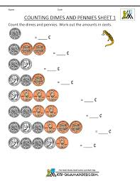 counting money worksheet dimes and pennies 1 first grade