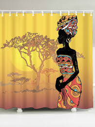 african lady pattern waterproof shower curtain colormix w inch l