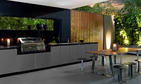 an amazing outdoor kitchen the contemporary finishes look simple