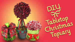 diy tabletop christmas topiary ribbon craft ornament and