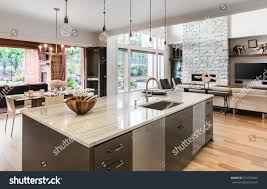Hardwood Floors In Kitchens Kitchen Island Sink Cabinets Hardwood Floors Stock Photo 315797645