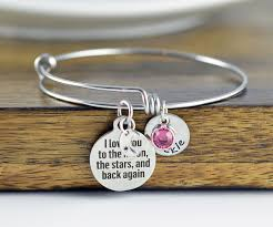 Personalized Bangle Bracelet I Love You To The Moon And Back Personalized Bangle Bracelet