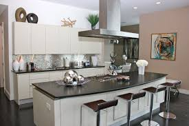 tin backsplashes for kitchens impress kitchen island and countertop with modern black barstools