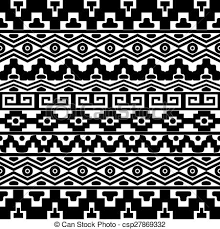 seamless pattern with aztec ornaments black vector seamless