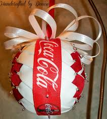 coca cola quilt looking fabric ornaments made by handcrafted by
