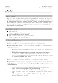 Sample Of Job Objective In Resume by Web Resume Examples