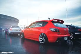 mazda 3 4x4 white slammed mazda 3 hatch bagged stanced hellaflush stanced