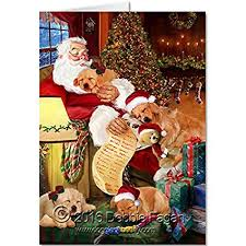 santa sleeping with dogs greeting card