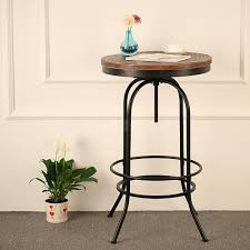 industrial style pub table ikayaa bar pub bistro table round pinewood industrial height
