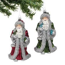 department 56 glass santa ornaments ebay