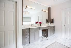 gray double bathroom vanity with white marble top transitional