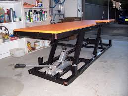 motorcycle lift table plans motorcycle lift bench table adventure rider ideas for jacques
