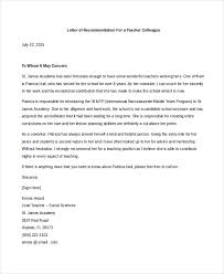 sample recommendation letter for teacher colleague cover letter