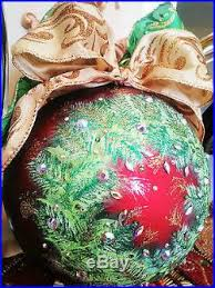 hand painted glass christmas holiday ornament swarovski elements