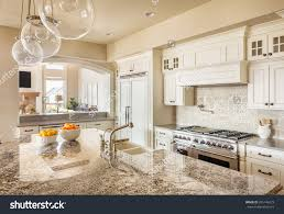 stock photo beautiful new kitchen interior with island sink