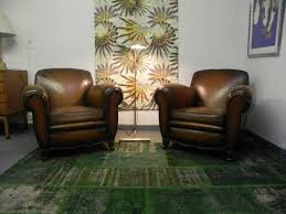 Club Armchairs Vintage Club Armchairs In Fawn Leather Set Of 2 For Sale At Pamono