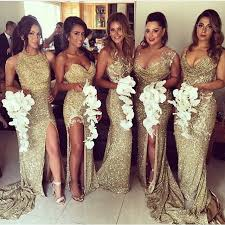 sequin bridesmaid dresses vestido gold sequin bridesmaid dress side slit sparkly