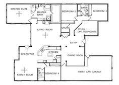 floor plan for one story house 2500 sq ft one level 4 bedroom house plans house plan four