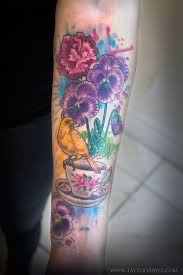 canary tea cup and pansies tattoo abyss