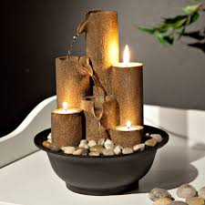 tabletop fountain with three candles home decor indoor fountains