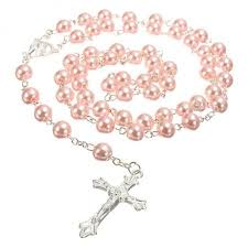 pink rosary girl s pink rosary rosary baptism roasry